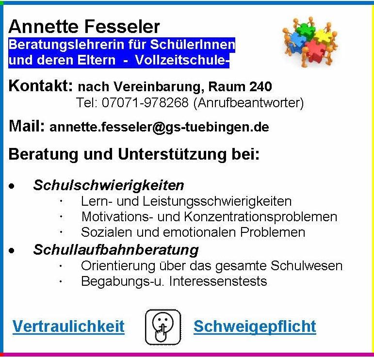 Unterstützungsangebot der Beratungslehrerin Frau Fesseler